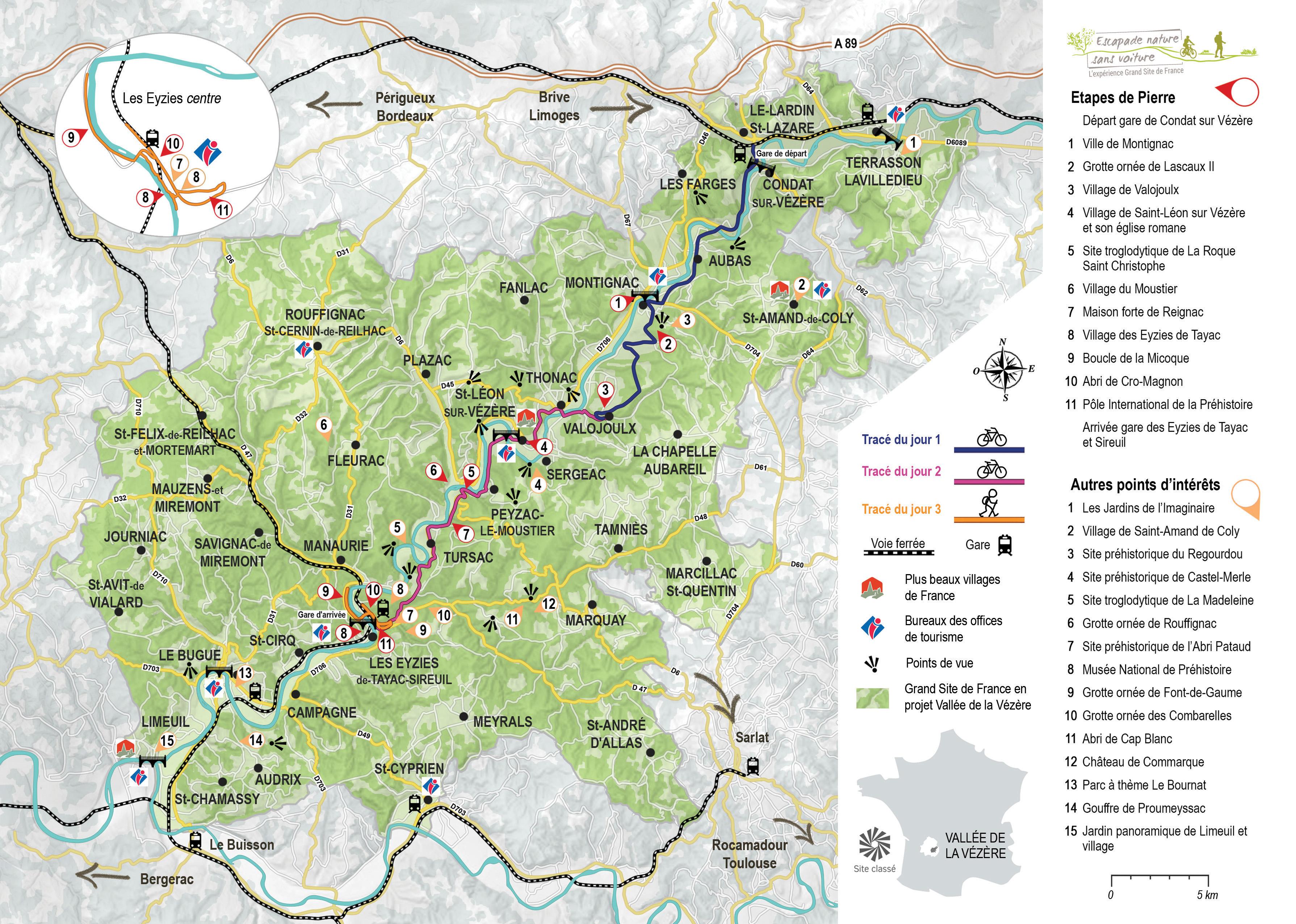 vallée de la vézère carte Vallée de la Vézère   Escapade nature sans voiture